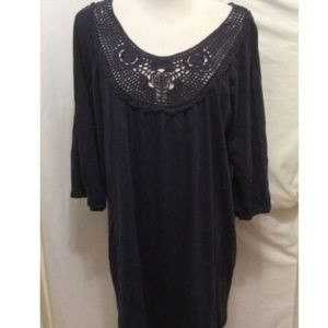 Ellos Top M 14/16 Dark Blue Crochet Neckline 3/4